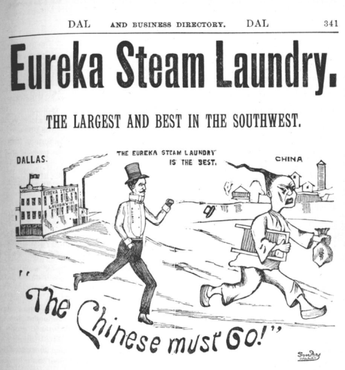 1890s?dallas white ldy ad toon anti Chin laundry
