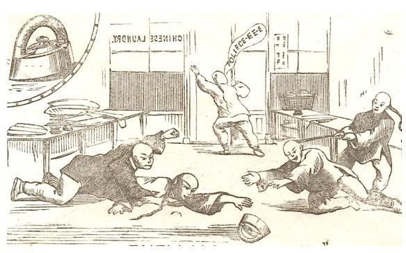 1876 Chin laundrymen brawl for Mrs Potts cold handle iron
