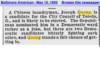 Joseph Quong runs city council Toledo 1900