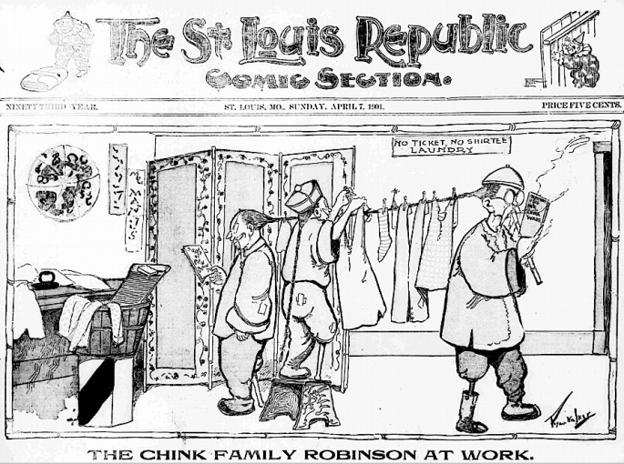1901 Chink Family Robinson laundry clotheline louis