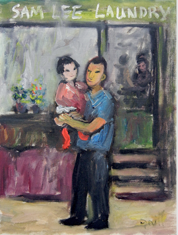 Sam Lee ands daughter 1961 Andre Grill painting