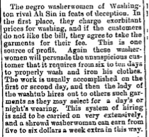 1872 Shrewd Washerwomen; Washingt  Ah Sin; Deception; Exorbitant; Unsuspicious;  January 31, 1872   St. Albans Daily Messenger (St. Albans, VT)   Page- 3