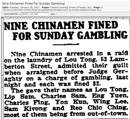 1917 Trenton 9 Sunday gamblers at ldy fined