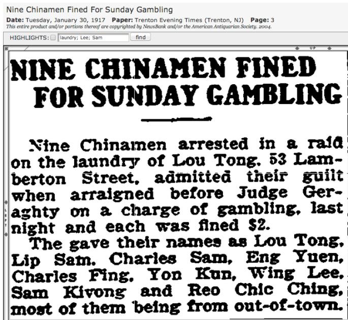 1917 Trenton 9 Sunday gamblers at ldy fined