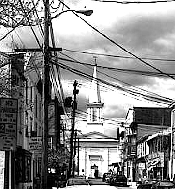 Lambertville-Sam Lee Ldy on CHURCH st with church at end