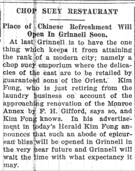 grinnell to get chop suery rest in pl of ldy kim fong